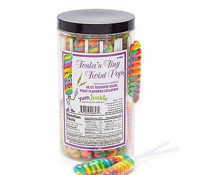 Lot of 48 Tesla Rainbow Swirl Twist Pops Old Fashioned Candy Lollipops - Rainbow Swirl
