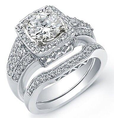 2.03 Ct. Round Cut Diamond Engagement Bridal Set GIA