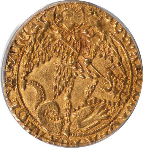 Great Britain Edward IV (1480-83) Gold Angel PCGS AU-55 PREMIUM QUALITY!!