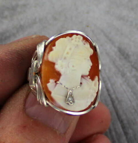 VINTAGE ANTIQUE  DIAMOND SHELL CAMEO RING STERLING SILVER ---- SIZE 7 1/2