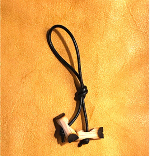 Two Miniature Wood Badge Beads on a Zipper Pull