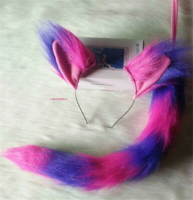 The Cheshire Cat Ears Plush Tail Pink & Purple Cat Cosplay Costume Fancy Dress - The Cheshire Cat Costume