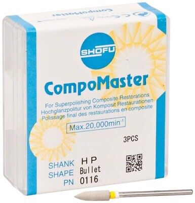 Dental Abrasives 3 Pc. Diamond Compomaster Shank Hpshape Bullet By Shofu