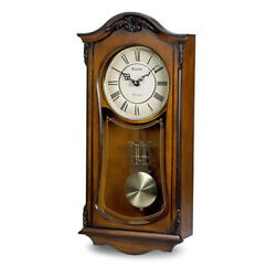 Bulova Cranbrook Analog Solid Hardwood Harp Lyre Pendulum Wall Clock C3542