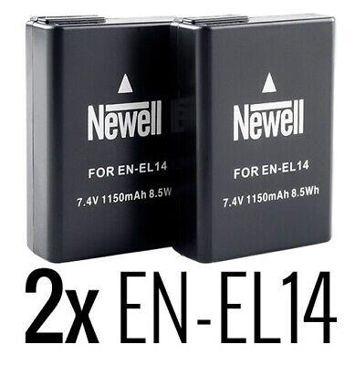 2x Akku Battery Newell EN-EL14 f. Nikon D5100 D5200 D5300 D5500 1150 mAh 7,4V