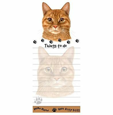 ORANGE TABBY  CAT DIECUT LIST PAD NOTES NOTEPAD Magnetic Magnet Refrigerator