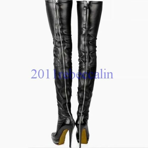 Womens Over the Knee Thigh Boots Shoes Paltform Clubwear Zip High Stiletto Heels
