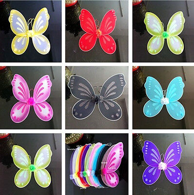 Cute 10 Color Girls Butterfly Fairy Wings Tinkerbell Pixie Party Costume 18