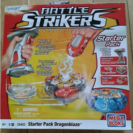 Battle Strikers Starter Pack Dragon Blaze Turbo Tops Mega Blocks Red – Brand New