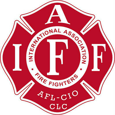 """4"""" IAFF Decal Red with White Trim Exterior Mount Please Read Auction"""