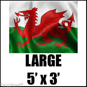 WALES WELSH RED DRAGON RUGBY FOOTBALL SPORTING NATIONAL LARGE FLAG 5 X 3FT *NEW*