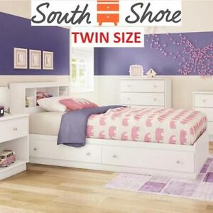 NEW TWIN MATES BED AND HEADBOARD 11238 251584981 SOUTH SHORE LITCHI WITH TWO DRAWERS WHITE