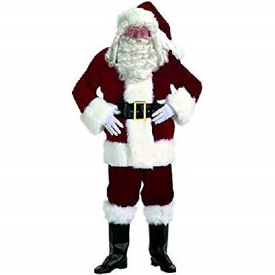 Santa Claus Suit Dxl Burgundy Velvet 6Pc Coat Pants Hat Boot Tops Belt & Gloves - Santa Claus Coat