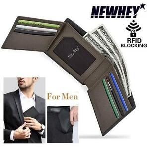NEW SLIM LEATHER MENS WALLET GREY 230586832 NEWAY TRIFOLD RFID BLOCKING CREDIT CARD CASE AND MONEY ORGANIZER