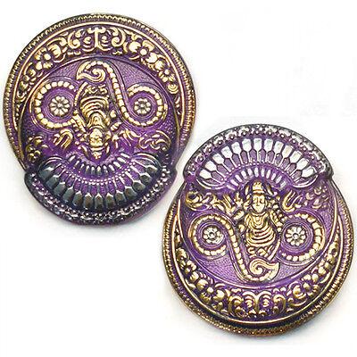 SALE 45mm Vintage Czech Glass FOCAL Buddha PURPLE GODDESS Phoenix Buttons 2pc