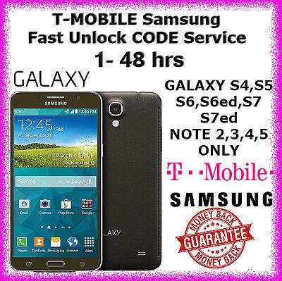 T-MOBILE Samsung Galaxy S4 S5 S6 S6ed S7 S7ed Note 3,4,5 USA Unlock CODE Service