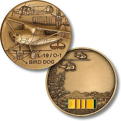 L-19 / O-1 Bird Dog Challenge Coin Spotting Plane Vietnam Ribbon War Pilot Vet