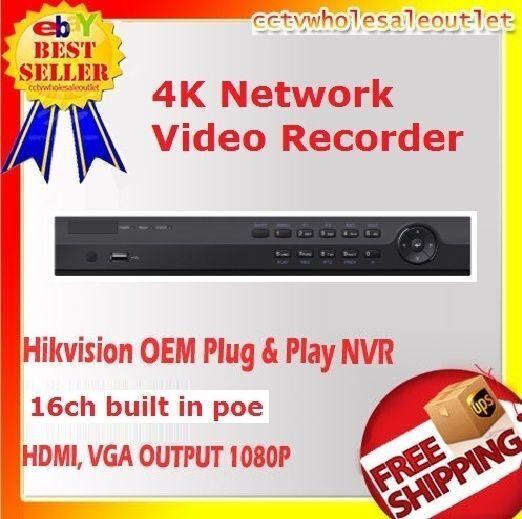 Hikvision(OEM) DS-7616NI-K2/16P(NR32P6-16)PLUG&PLAY NVR16CH W/16 BUILTIN POE+HDD