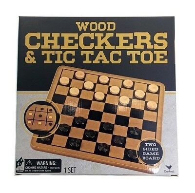Cardinal Solid Wood Checkers And Tic Tac Toe Childrens Toy Reversible Game (Solid Wood Checkers)