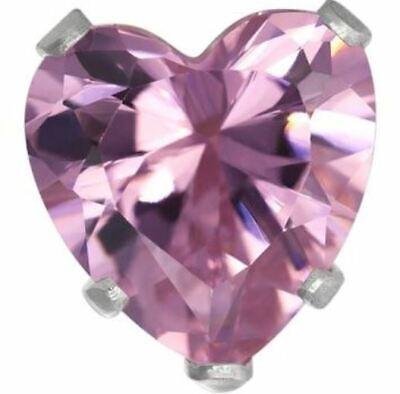 4mm Rose Zircon Pink Heart Stud Post Earring Sterling Silver Children's Jewelry Rose Earring Posts