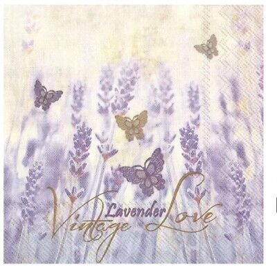 4x Paper Napkins for Decoupage Decopatch /vintage lavender (faded)