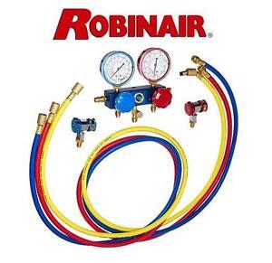 NEW ROBINAIR R134 SERVICE SET Robinair (49134A) R134 Aluminum Manifold, Hose Set and Service Coupler 105470248