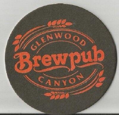 "Glenwood Canyon Brewpub Beer Coaster 3.5"" diameter two sided same artwork both"