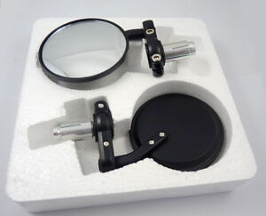 NEW-UNIVERSAL-MOTORCYCLE-BLACK-REAR-VIEW-MIRRORS-BAR-END-Fit-For-SUZUKI-YAMAHA