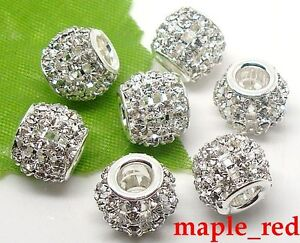 20 pcs Clean Crystal Silver Spacer Big Hole Bead for European Bracelet