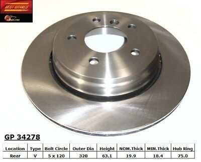 Disc Brake Rotor fits 2004-2010 BMW 530i 528i 525i  BEST BRAKES