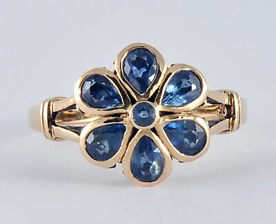 R290 Genuine 9ct SOLID Yellow Gold Natural Sapphire DAISY Blossom Ring size N for sale  Shipping to Canada