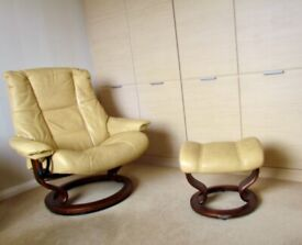 2 Ekornes Stressless Leather Chairs and foot stool
