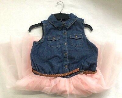 Girls Denim Dresses (NEW Zunie Girls Denim Sleeveless Tutu Dress -)