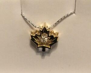 Mapleleaf Pendant with floating diamond