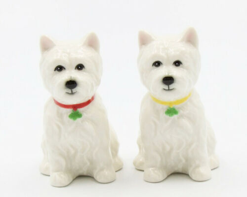 New PORCELAIN Figurine DOG Salt Pepper Shakers WESTIE WHITE TERRIER Puppy Statue
