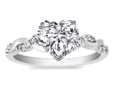 Heart Shape Diamond Petite Twisted Pave Band Engagement Ring -  GIA Flawless