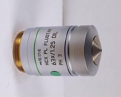Leica Hcx Pl Fluotar 63x Oil Ph3 Phase Contrastm25 Microscope Objective