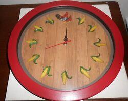 Quartz Rooster / Hen / Farm Kitchen Clock  New still in box