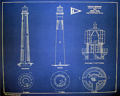 "Lighthouse Blueprint Plan Atlantic City N.J. 1857 old style blue 16""x20"" (285)"