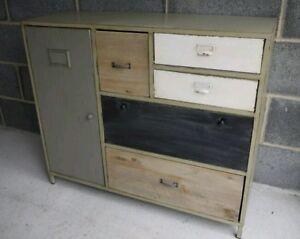 Shabby vintage industriale metallo legno credenza armadio for Credenza industriale