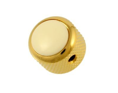 Q-Parts White Acrylic and Gold Dome Knobs for Electric Guitar and Bass