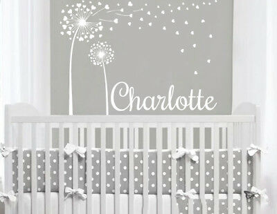 Dandelion Wall Decal Personalized Girl Name Sticker Nursery Baby Girl Decor F20