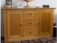 Solid Oak Dining Room Suite Extendible Table, 4 Chairs & Sideboard