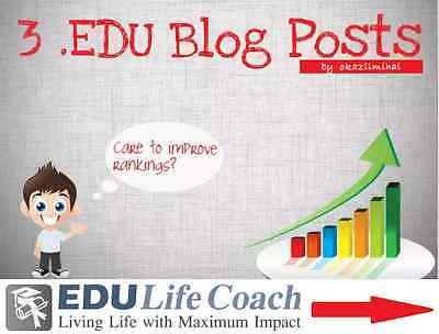 3 PERMANENT  EDU blog posts with contextual backlinks on High Pr EDU sites ! SEO