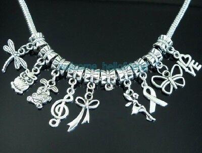 Charms For Bracelets Wholesale (Wholesale 50pcs Tibetan Silver Bulk Lots Mix Dangle Charms For Bracelet)