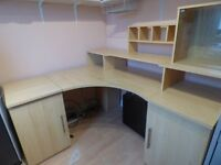 Spacious Desk with Cupboard and Disc Storage