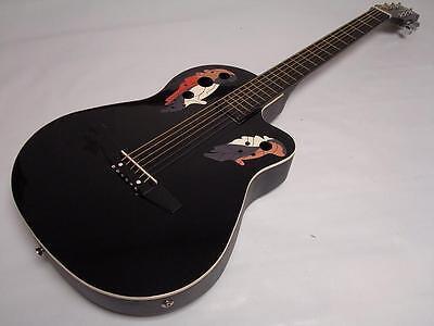 Free Gig Bag 6 String Acoustic Electric Guitar, Round Back, Black