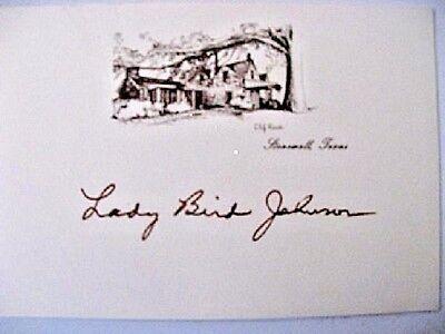 Superb & Rare, First Lady Lady Bird Johnson Signed, L. B. J. Ranch Card
