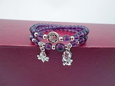 Amethyst Purple Charm Bracelet - 6mm Natural pure purple amethyst charm multilayer beaded bracelet stretch bangle