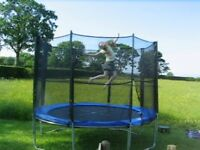 Trampoline 10 ft - lightly used - with enclosure - needs new mat
